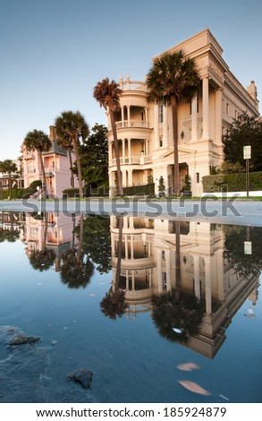 The Battery Charleston South Carolina Lowcountry Historic Antebellum Architecture - stock photo