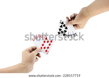 The battle between Royal Straight Flush of diamond and Royal Straight Flush of clubs in poker game on white background,Focused on card - stock photo