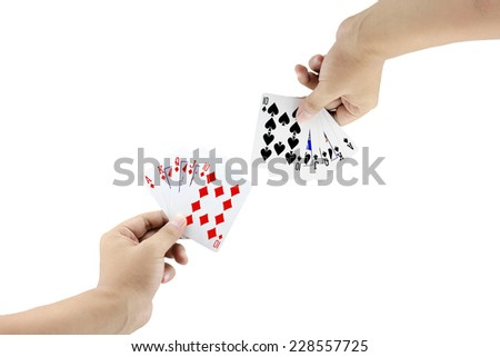 The battle between Royal Straight Flush of diamond and Royal Straight Flush of spade in poker game on white background,Focused on card - stock photo