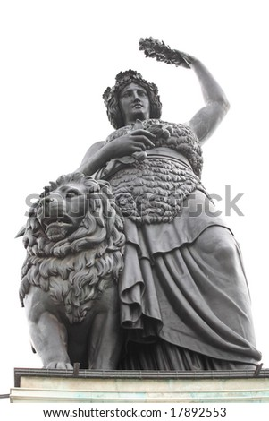 The Bavaria statue at the site of Oktoberfest in Munich - stock photo