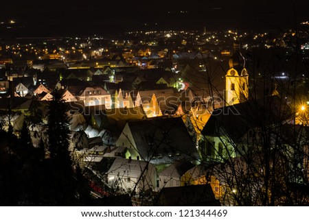 The bavarian city Schwandorf at night - stock photo
