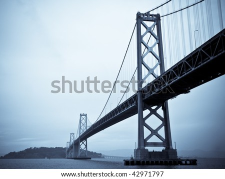 The Bay Bridge, San Francisco. Finished in a Blue Duotone. - stock photo
