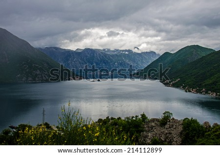 The Bay of Kotor. Top view. Cloudy.