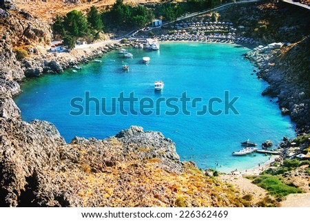 The Bay on Rhodes Island, Lindos, Greece - stock photo