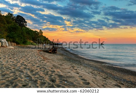 the bayfield beach at sunset - stock photo
