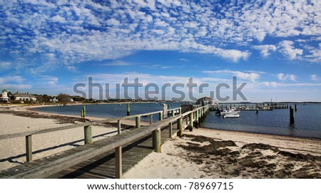 The Beach And Boat Dock Near The Kennedy Compound At Hyannis Port, Cape Cod, Massachusetts, USA - stock photo