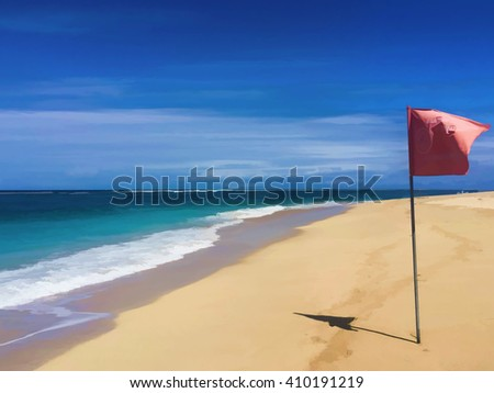 The beach and red flag,  Beautiful beach and blue sea, The perfect beach, Landscape of paradise tropical island beach with perfect sunny sky, , White Sand Beach with Perfect Sunny Sky in Summer time