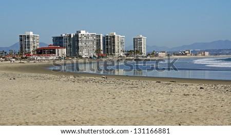 The beach and skyline of Coronado Island, off the coast of San Diego California - stock photo