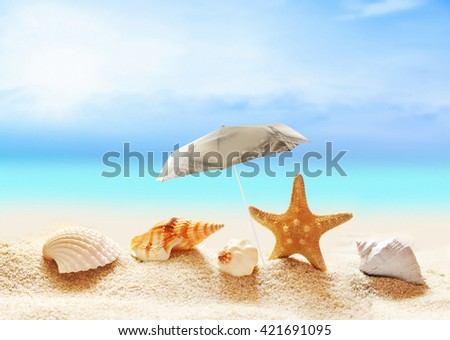 The beach and the beach umbrella. Seashells  and starfish on the sandy beach  at ocean background - stock photo