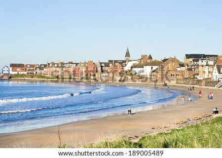 The beach and town in North Berwick, Scotland in April 2014 - stock photo
