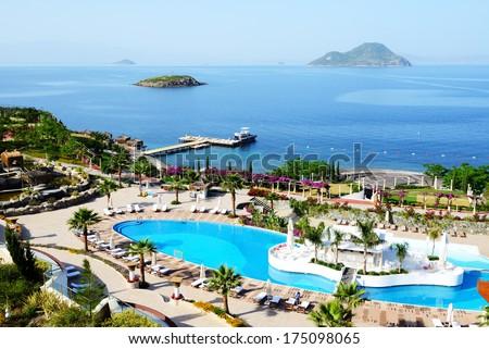 The beach at luxury hotel, Bodrum, Turkey - stock photo