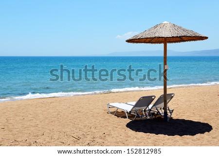 The beach at modern luxury hotel, Peloponnes, Greece - stock photo