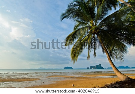 the beach before sunset in thailand, landscape photo in thailand