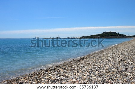 The beach in Antibes, French Riviera, France.