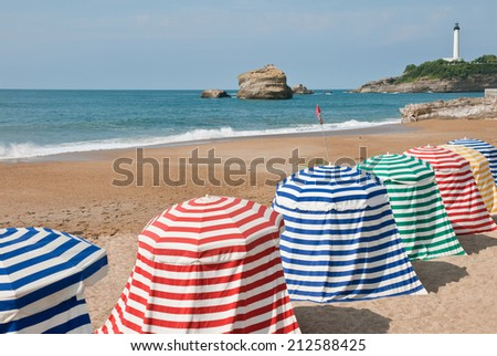 The beach in Biarritz, France   - stock photo