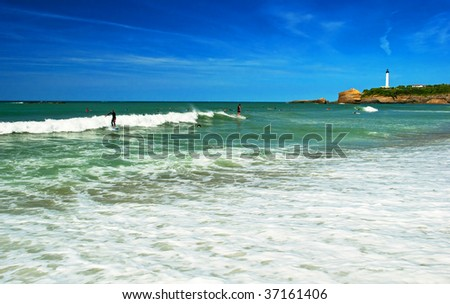 The beach in Biarritz France - stock photo