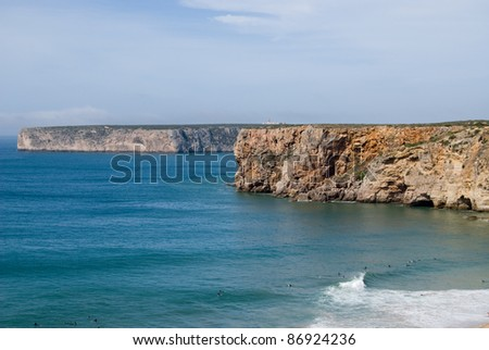 The  beach in Sagres,most south-west  point of Europe, Portugal