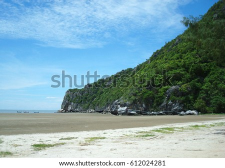 The beach in thailand when low tide during day.