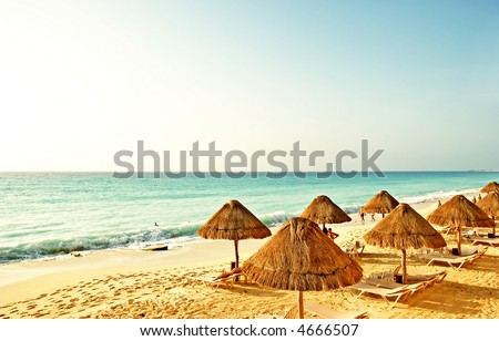 the beach in the caribbean - stock photo