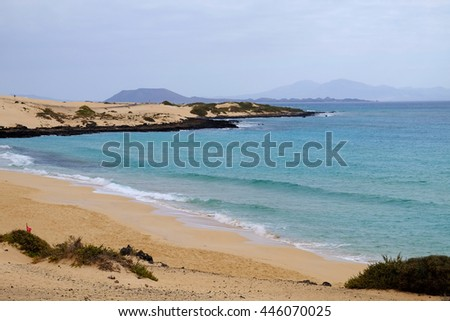 The beach of Corralejo and sand dunes on Fuerteventura.