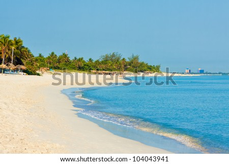 The beach of Varadero in Cuba on a beautiful summer morning - stock photo