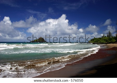 The beach on Hana's coastline, Maui Island, Hawaii. - stock photo