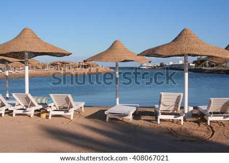 The beach on the red sea in Egypt.Solar Hurghada