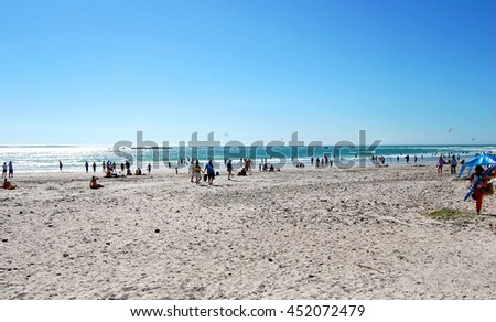 The beach & the sea. Enjoy your time on a beautiful Cape Town beach in South Africa. Wonderful vacation. Amazing south african landscape. Wonderful seascape. of great beaches & two oceans in Cape Town - stock photo