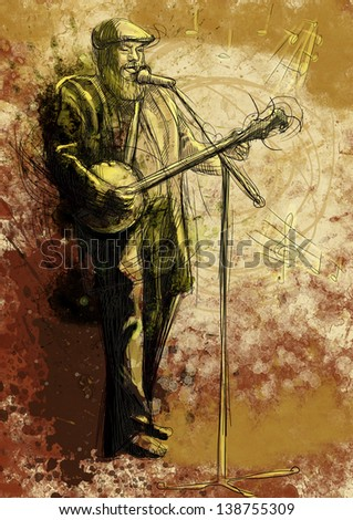 The bearded man playing the banjo and singing into a microphone. /// A hand drawn illustration - full sized (original).