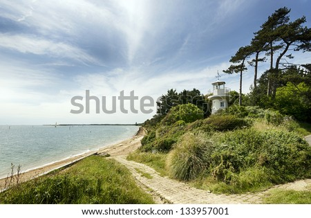 The Beaulieu River Millennium Beacon also known as Lepe Lighthouse at Lepe in the New Forest National Park in Hampshire - stock photo
