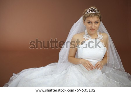 The beautiful amusing bride in a white dress sits on a brown background - stock photo