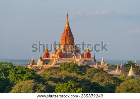 The beautiful Ananada Temple in Bagan in Myanmar, built in the year 1105 using architectural elements from Mon and Indian styles - stock photo