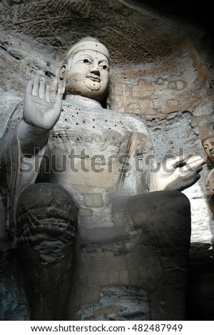 The beautiful ancient remains of Buddha Statue in Yungang Grottoes, Datong, Shanxi Province, China.