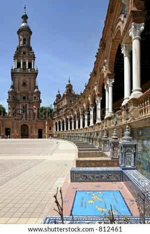 The beautiful and ancient Plaza de Espana in Seville, Andalucia, Spain - stock photo