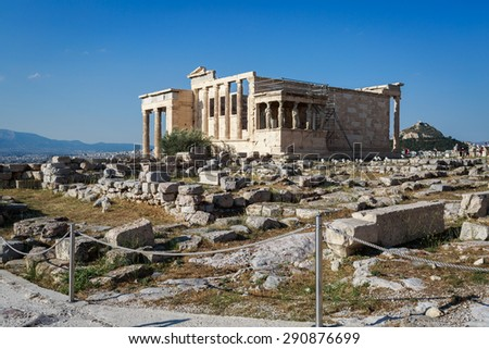 The beautiful and historic Parthenon in the acropolis of Athens, Greece - stock photo