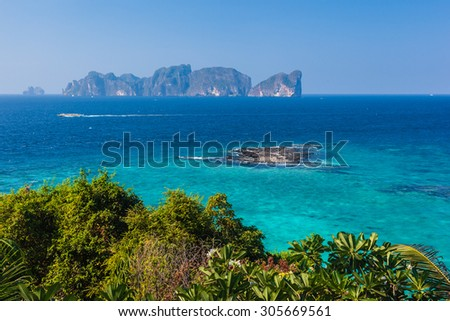 the beautiful andaman sea seen from phi phi island, thailand - stock photo