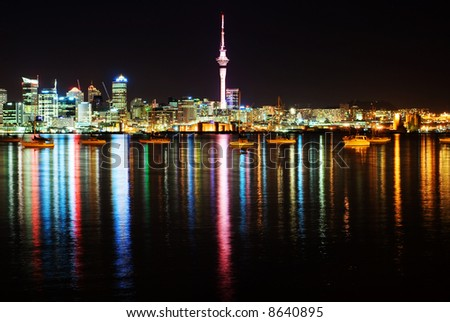 The beautiful Auckland skyline by night - stock photo