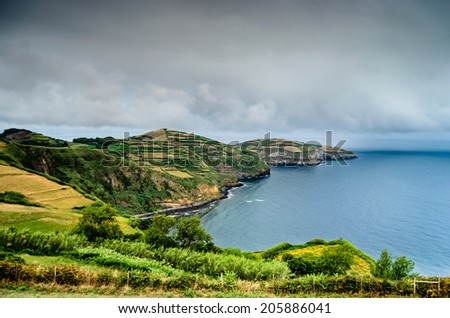 The beautiful Azores islands in middle of the Atlantic Ocean - stock photo