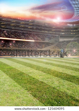 The beautiful Background with football stadium - stock photo