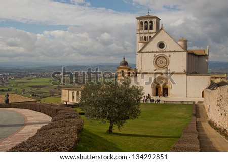 The beautiful Basilica of St. Francis of Assisi located in the town of Assisi, Italy.