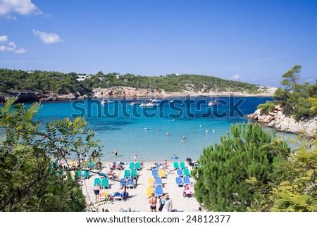 The beautiful beach in Portinatx, Ibiza in summer. - stock photo