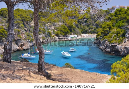 The Beautiful Beach of Cala Pi in Mallorca, Spain ( Balearic Islands ) - stock photo