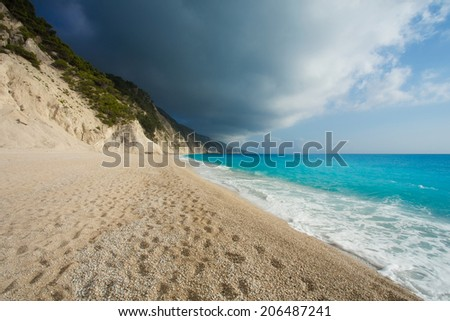 The beautiful beach of Egremni, on the island of Lefkada in Greece - stock photo