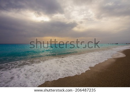 The beautiful beach of Gialos, on the island of Lefkada in Greece - stock photo