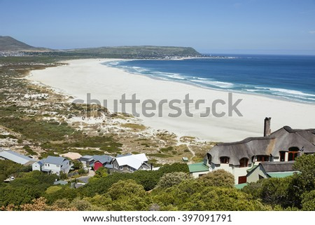 The beautiful beach of Hout Bay, near Cape Town, South Africa - stock photo