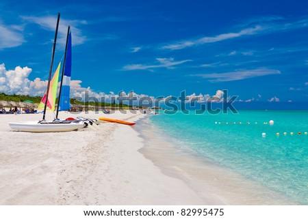 The beautiful beach of Varadero in Cuba - stock photo
