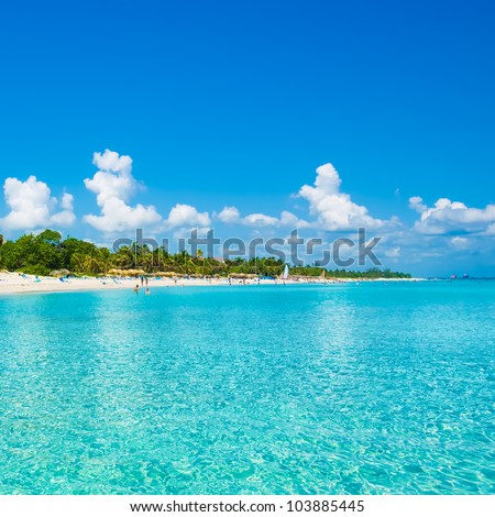 The beautiful beach of Varadero in Cuba seen from the sea on a beautiful summer day - stock photo