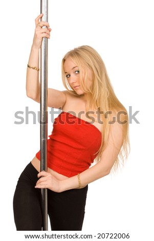 The beautiful blond woman at a pole