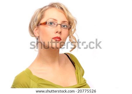 The beautiful blonde the girl bespectacled - stock photo