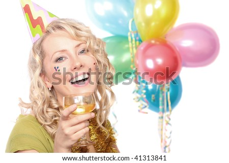 The beautiful blonde the girl during the carnival - stock photo